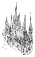 A cavalier view of the thirteenth century Cathedral, built entir