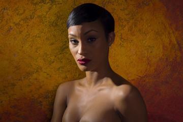 Profile portrait of attractive black female model