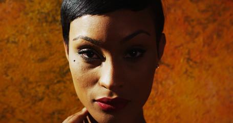 Close-up of attractive black model