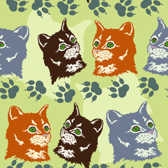 seamless pattern red, gray and black cats