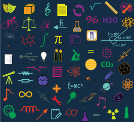 Education concept - sign and symbols that represent education background;