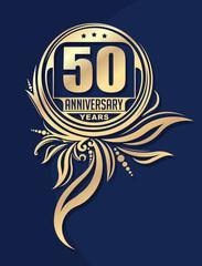 Vintage anniversary 50 years unusual round floral emblem. Retro