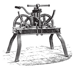 Machine for bending wheels circles irons, vintage engraving.
