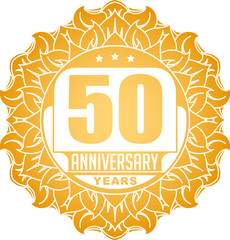 Vintage anniversary 50 years round emblem in Sun style and color