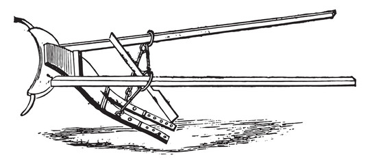 Old plow of Osterobothnia, vintage engraving.