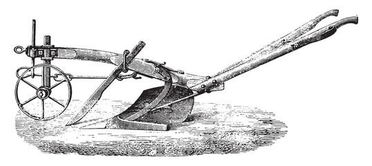 New Plough Meixmoron, Dombasle, vintage engraving.