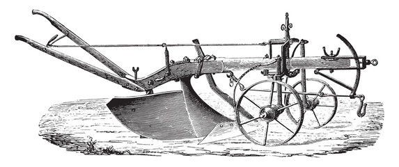 Plow to age in wood M Didelot the abbe, vintage engraving.