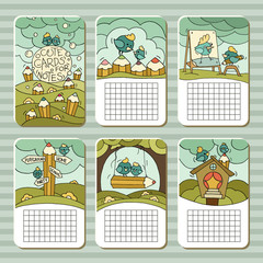 Collection of cute blocks for cards, notes, stickers, tags with birds and pencils. Template for scrapbooking, notebooks, diary, school accessories. Doodle hand-drawn vector with birds for kids.
