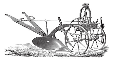 Wheeled plow with iron age, Didelot abbe, vintage engraving.