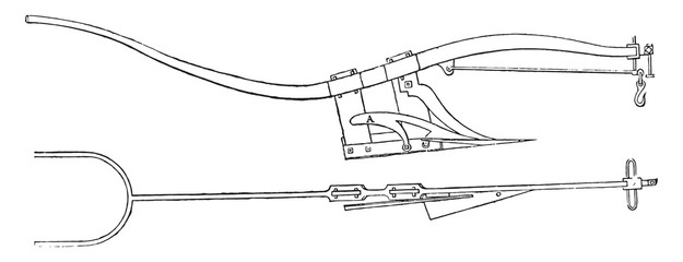 Subsoiler plow Smith, vintage engraving.