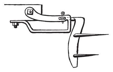 Plan a subsoiler blade, vintage engraving.