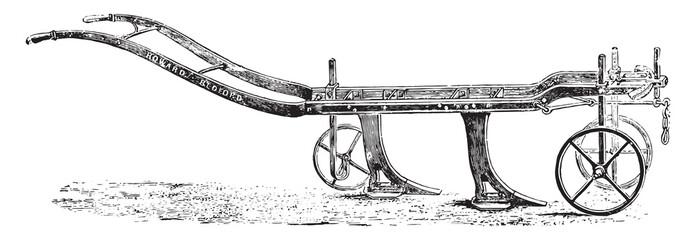 Subsoiler or scavenger Howard, vintage engraving.