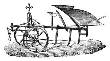 Mixed rocking plow Bajac-Delahaye, vintage engraving.