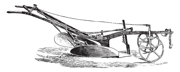 Ransomes plow turns ear, vintage engraving.