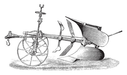 Plow double by R. Hornsby, vintage engraving.