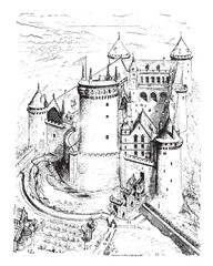 Isometric view of Coucy castle, vintage engraving.