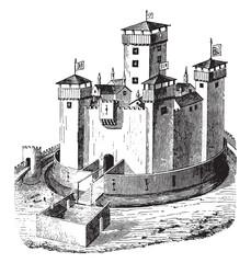 Chateau de la Panouse, whose ruins still exist, vintage engravin
