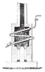 Blakey boiler, vintage engraving.