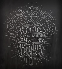 Black and white doodle typography poster with nesting box and vane. Cartoon cute card with lettering - Home is where our story begins. Hand drawn vector illustration isolated on chalkboard.