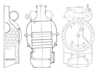 Boiler, vintage engraving.