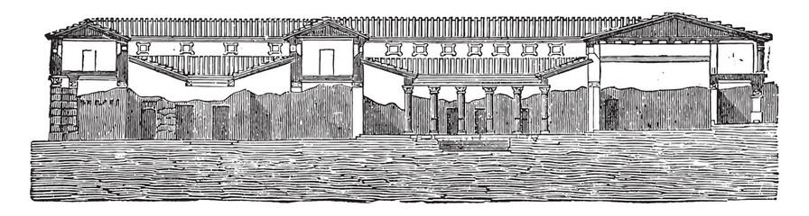 Cutting the said house of Pansa at Pompeii, vintage engraving.