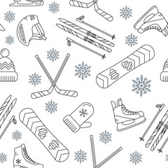Seamless pattern of winter sport.
