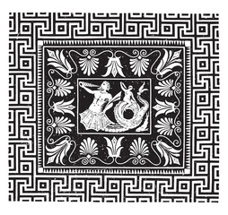 Ancient mosaic, Temple of Jupiter at Olympia, vintage engraving.