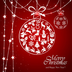 White bauble on red Christmas background