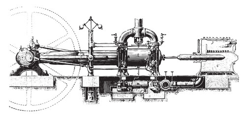 View of the Corliss machine, vintage engraving.