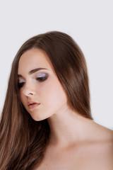 Young woman portrait. Closeup beauty studio shoot. Healthy clean