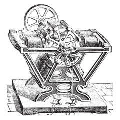 Engine Froment, vintage engraving.