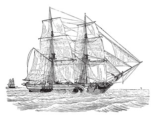 Trading brig as close to the wind, vintage engraving.