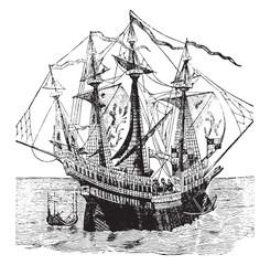 The grace of God Henri warship, vintage engraving.