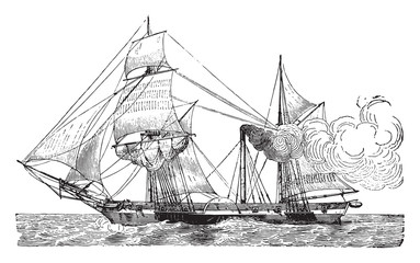 Wheeled Warship, vintage engraving.