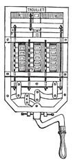 The seventeen white cartridges represent seventeen dialers, vint