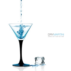 Glass of Dry Martini, Gin Cocktail Isolated on White
