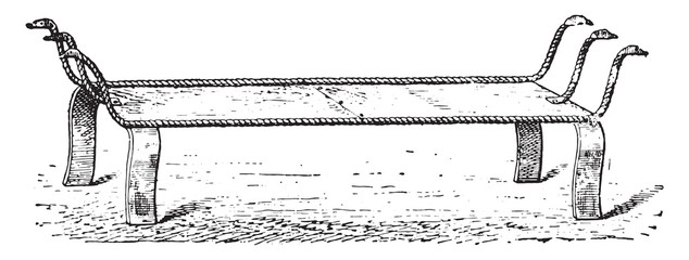 Bed with strap, vintage engraving.