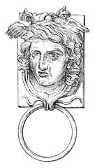 Door ring, vintage engraving.