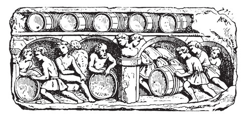 The cellar service, vintage engraving.