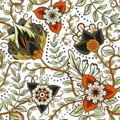 Vector floral seamless pattern with fantasy flowers