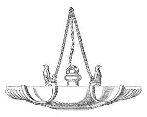 Hanging Lamp, vintage engraving.