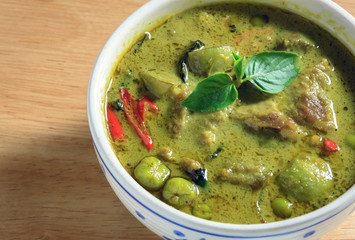 green curry wood background.