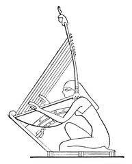 Harp on a rod, vintage engraving.