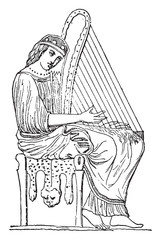 Woman playing the harp, vintage engraving.