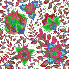 Beautiful vintage floral seamless pattern background with red and blue flowers
