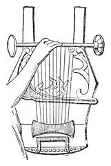 Lyre of Apollo, vintage engraving.