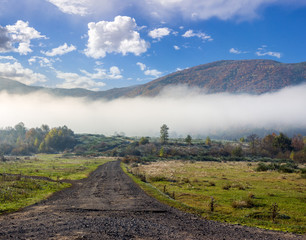 old road  near forest in foggy mountains at sunrise