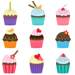 Set of cute vector cupcakes