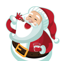 Santa Claus eating a Christmas cookie. EPS 10 vector illustration.