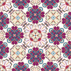 Spanish traditional ornament, Mediterranean seamless pattern, tile design, vector illustration